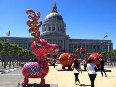 Photos : animaux fantastiques en exposition devant la mairie de San Francisco