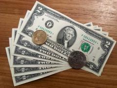 rares billets de $2 et pièces de $1