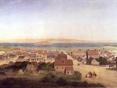 Photo : tableau de San Francisco en 1850 en pleine Ruée vers l'Or