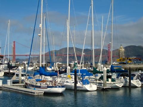 Photo : Bateau à voile avec Pont du Golden Gate en arrière plan